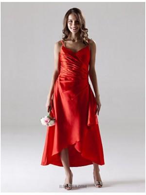 A Line Spaghetti Straps Tea Length Asymmetrical Stretch Satin Bridesmaid Dress with Side Draping