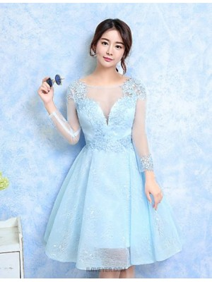 A Line Jewel Neck Knee Length Lace Tulle Bridesmaid Dress with Lace