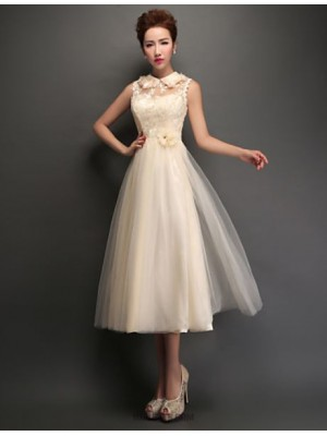 A Line High Neck Tea Length Tulle Bridesmaid Dress with Appliques Lace