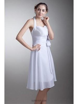 A Line Halter Knee Length Chiffon Bridesmaid Dress with Bow