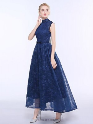 A Line High Neck Ankle Length Lace Bridesmaid Dress with Sash Ribbon
