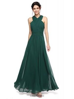 A Line Halter Floor Length Chiffon Bridesmaid Dress with Sash Ribbon Ruching Criss Cross