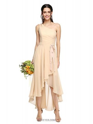 A Line Sexy One Shoulder Asymmetrical Chiffon Bridesmaid Dress with Bow Sash Ribbon Pleats