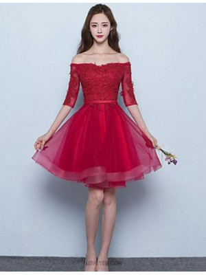 A Line Off the shoulder Short Mini Tulle Bridesmaid Dress with Sash Ribbon