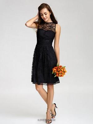 A Line Bateau Neck Knee Length Lace Bridesmaid Dress with Lace