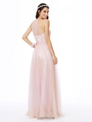 A Line Jewel Neck Floor Length Tulle Bridesmaid Dress with Sash Ribbon Pleats