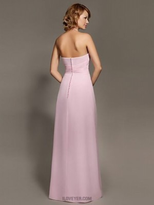 A Line Halter Floor Length Chiffon Bridesmaid Dress with Criss Cross