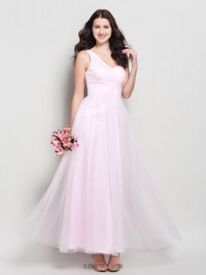 A Line Sexy One Shoulder Ankle Length Tulle Bridesmaid Dress with Criss Cross