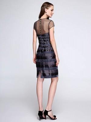 Sheath Column Jewel Neck Knee Length Velvet Charmeuse Bridesmaid Dress with Buttons