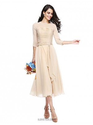 A Line Jewel Neck Tea Length Georgette Bridesmaid Dress with Crystal Brooch Ruching