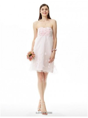 A Line Princess Strapless Knee Length Satin Tulle Bridesmaid Dress with Flower