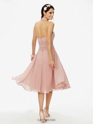A Line Halter Knee Length Chiffon Bridesmaid Dress with Bow Sash Ribbon Ruching Pleats
