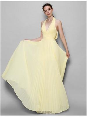 A Line Halter Floor Length Chiffon Bridesmaid Dress with Buttons Pleats