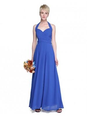 A Line Halter Floor Length Chiffon Bridesmaid Dress with Bow Criss Cross Ruching