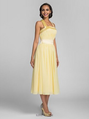 A Line Halter Tea Length Chiffon Stretch Satin Bridesmaid Dress with Draping Bandage