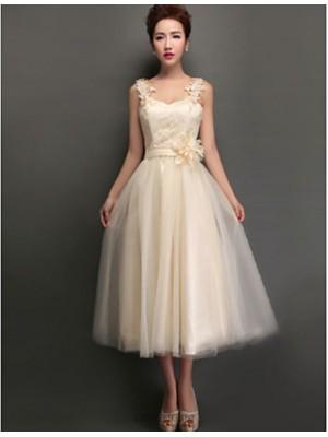 A Line High Neck Jewel Neck V neck Straps Tea Length Tulle Bridesmaid Dress with Appliques Lace