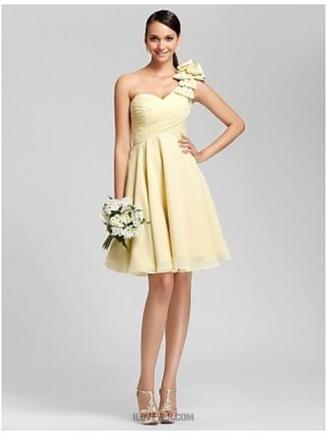 A Line Princess Sexy One Shoulder Sweetheart Knee Length Chiffon Bridesmaid Dress with Beading Bow Draping Criss Cross