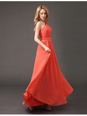 A Line Sexy One Shoulder Floor Length Chiffon Bridesmaid Dress with Draping