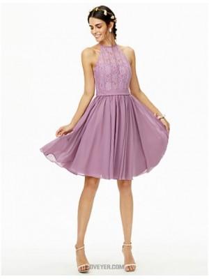 A Line Jewel Neck Knee Length Chiffon Lace Bridesmaid Dress with Lace Sash Ribbon Pleats
