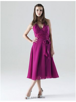 A Line Halter V neck Tea Length Chiffon Bridesmaid Dress with Bow Sash Ribbon Ruching