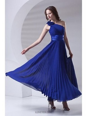 A Line Sexy One Shoulder Ankle Length Chiffon Bridesmaid Dress with Draping Flower