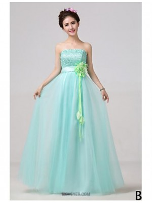 A Line High Neck Strapless Sexy One Shoulder V neck Floor Length Tulle Bridesmaid Dress with Flower Sash Ribbon