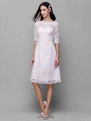 A Line Bateau Neck Knee Length Lace Satin Bridesmaid Dress with Beading Lace