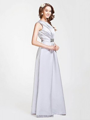 A Line Princess Sexy One Shoulder Floor Length Satin Bridesmaid Dress with Beading Side Draping