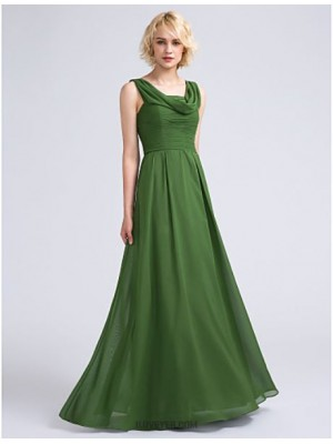 A Line Cowl Neck Floor Length Chiffon Bridesmaid Dress with Ruching