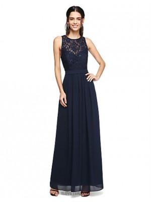 A Line Jewel Neck Floor Length Chiffon Lace Bridesmaid Dress with Sash Ribbon Sequins