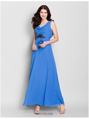 A Line Cowl Neck Ankle Length Chiffon Bridesmaid Dress with Crystal Detailing