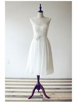 A Line Scoop Neck Tea Length Chiffon Lace Bridesmaid Dress with Flower Sash Ribbon