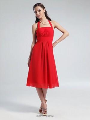 A Line Halter Knee Length Chiffon Bridesmaid Dress with Draping