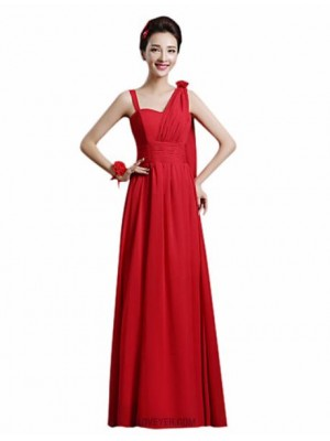 A Line Sexy One Shoulder Ankle Length Chiffon Bridesmaid Dress with Flower Sash Ribbon