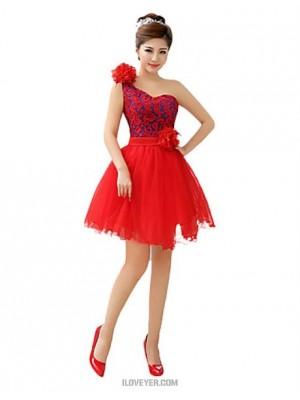 A Line Princess Strapless Short Mini Tulle Bridesmaid Dress with Flower Sash Ribbon