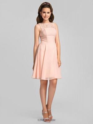 A Line Jewel Neck Knee Length Chiffon Bridesmaid Dress with Beading Lace