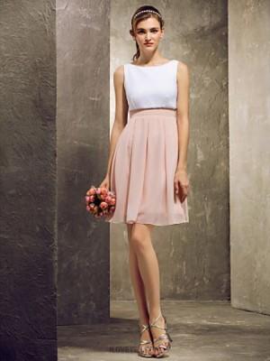 A Line Bateau Neck Short Mini Chiffon Bridesmaid Dress with Pleats