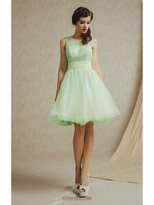 A Line Bateau Neck Knee Length Lace Satin Bridesmaid Dress with Lace Pleats
