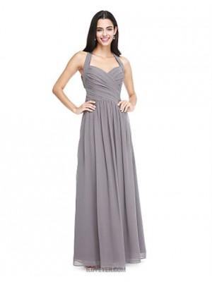 A Line Halter Floor Length Chiffon Bridesmaid Dress with Side Draping Criss Cross