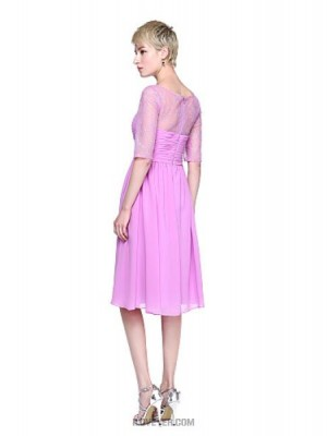 A Line Jewel Neck Knee Length Chiffon Lace Bridesmaid Dress with Ruching