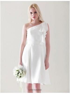 A Line Princess Sexy One Shoulder Knee Length Chiffon Bridesmaid Dress with Draping Ruffles