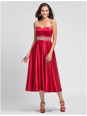 A Line Princess Strapless Sweetheart Tea Length Satin Bridesmaid Dress with Beading Embroidery