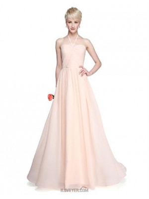 A Line Halter Floor Length Chiffon Bridesmaid Dress with Side Draping Ruching