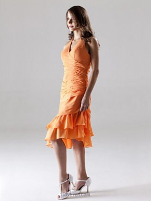 A Line Halter V neck Knee Length Asymmetrical Chiffon Bridesmaid Dress with Side Draping