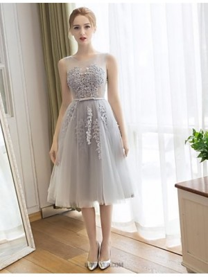 A Line Scoop Neck Tea Length Lace Tulle Bridesmaid Dress with Appliques