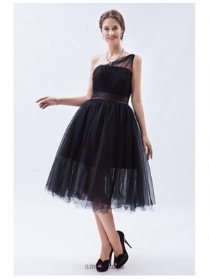 A Line Sexy One Shoulder Tea Length Tulle Bridesmaid Dress with Sash Ribbon