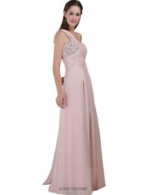 A Line Sexy One Shoulder Floor Length Chiffon Bridesmaid Dress with Beading