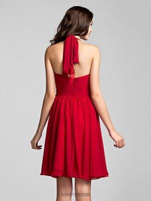 A Line Halter Knee Length Chiffon Bridesmaid Dress with Ruching Criss Cross