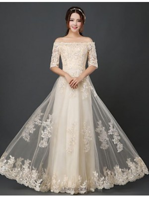 A Line Bateau Neck Floor Length Tulle Bridesmaid Dress with Ruffles