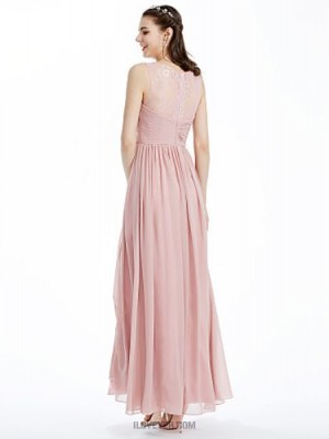 A Line Boat Neck Ankle Length Chiffon Lace Bridesmaid Dress with Lace Criss Cross Pleats Ruche